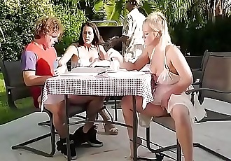 Neighbour spying on my family picnic!Bailey Brooke and Reagan Foxx 7 min HD