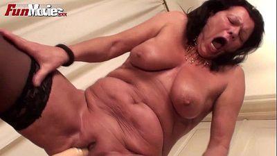 FUN MOVIES Granny rides Monster Dildo - 1 min 44 sec HD