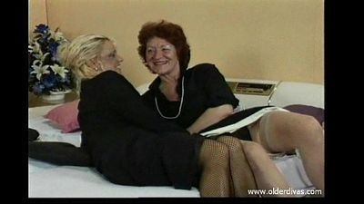Old lesbians in business suits stockings and heels get it on - 3 min