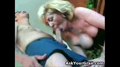 Granny fucked on the floor doggy she gets a facial and swallows - 57 sec