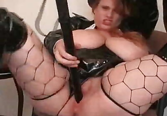 Slutty Big Titted Police officer Fucks herself with a massive truncheon