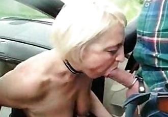Submissive slut granny used by stranger in highway car park - 1 min 42 sec