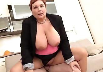 Redhead German granny abuses nephew with her big tits 4 min 720p