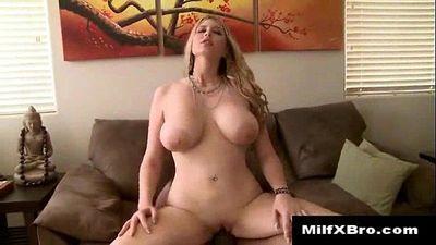 Busty MILF sucks and fucks black cock - 5 min