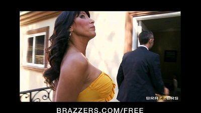 Tattooed brunette MILF Lezley Zen takes on two big hard cocks - 7 min HD