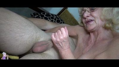 Grey old Granny likes young man - 5 min
