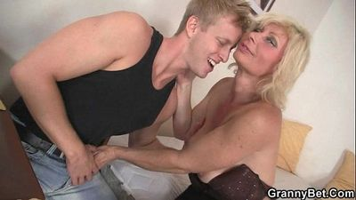 Granny blonde rides his stiff dick - 6 min
