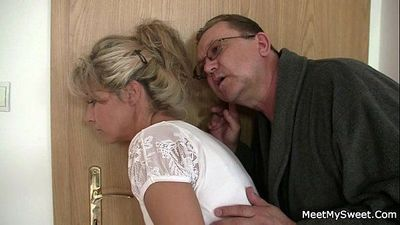 He leaves and horny parents seduces his hot GF - 6 min