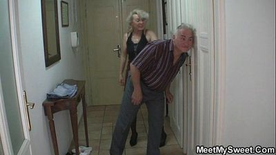 She is tricked into 3some by his old parents - 6 min