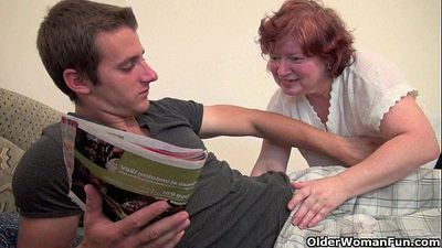 Full figured grandma seduces son\