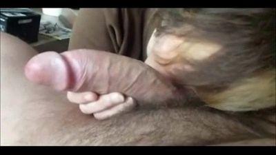 Granny Sucks a Fat Cock and Swallows - 4 min