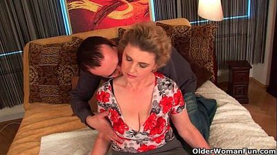 Busty grandma in stockings gets her hairy pussy fucked - 6 min HD