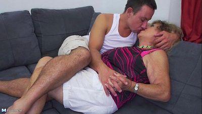 Hot stud undressing and banging a grandma - 6 min
