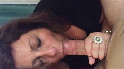 Brunette Grandma sucks a young cock - 6 min