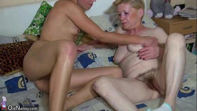 OldNanny Granny with hairy pussy, young girl, and toys - 8 min HD