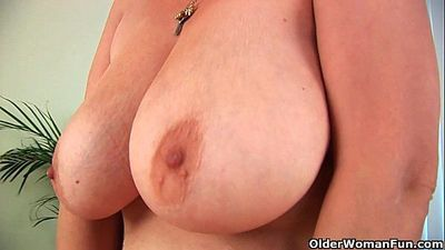 Hairy grandma Gunda with her big tits has solo sex - 6 min HD