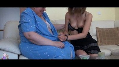 Old busty granny playing with skinny girl - 5 min