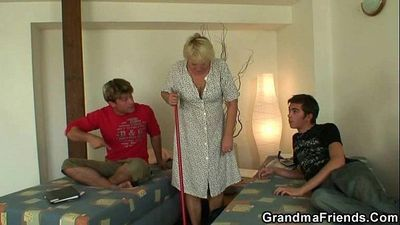 Two buddies fuck cleaning granny - 6 min