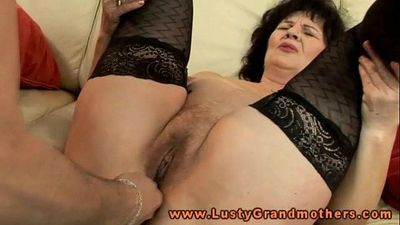 Mature granny in stockings toy pleased - 7 min