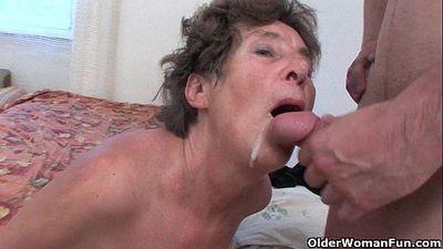 Hairy granny loves anal sex - 5 min HD