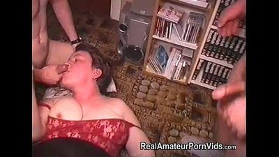 Mature fat housewife is fucked by two men - 6 min