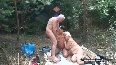 Tanned slut and granny slut are sucking big cock - 8 min