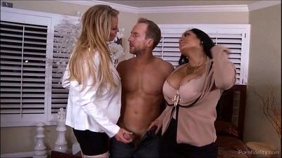 Two Busty Bosses Crave Big Hard Intern Cock