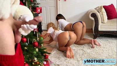 Alexis Fawx and Sophia Leone threesome fucking with a sneaky Santa Claus
