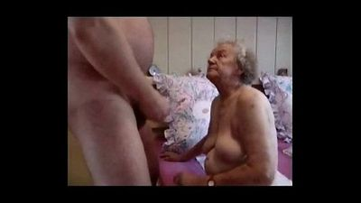 Very old grandma having fun. Amateur older - 2 min