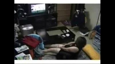 My mum in living room masturbates watching TV. Hidden cam - 1 min 43 sec