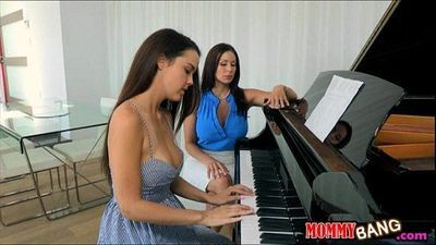 Dillion Harper threesome action with her piano teacher - 6 min