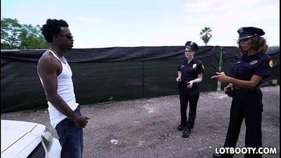 Two big ass female police officers get interracial fucked - 5 min