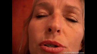Mature blonde has nice big tits - 5 min
