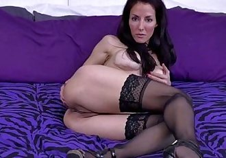 Brunette MILF masturbating in stockingsHD