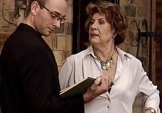 Granny seducing horny guy. - 6 min