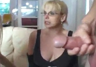 Teen and mature double team handjob - 4 min