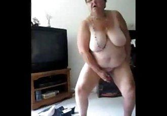 Exhibitionist slut granny selftaped masturbating. Amateur - 3 min