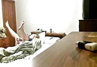 Hidden cam caught my mum on bed masturbating - 2 min