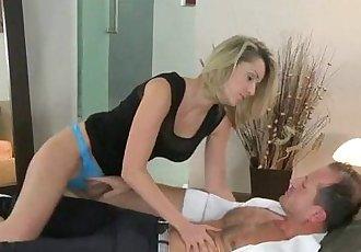 Shaped blonde MILF gently fucking