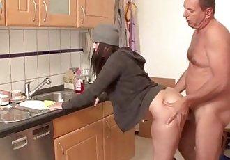 German MILF Seduce to Fuck by Stranger in Kitchen