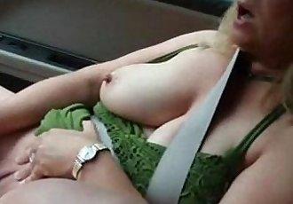 Great masturbation in car. Amateur public nudity - 3 min