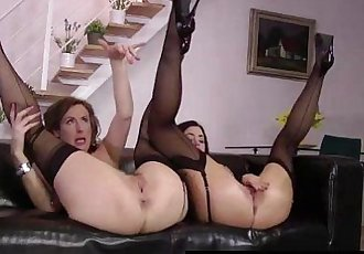 Threesome with cute brunette for British MILF Lara Latex