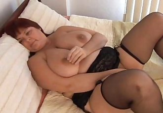 Beautiful busty MILF in stockings - 5 min