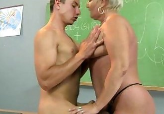 Granny amateur teacher pleasured on desk - 7 min
