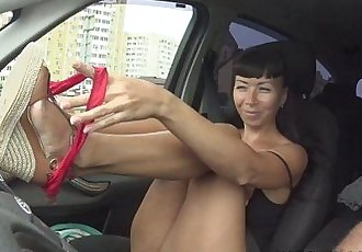 I was not bored in a traffic jam nude-public - 2 min HD