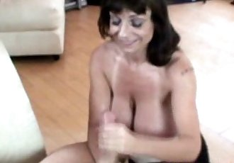 Busty granny giving tugjob - 6 min