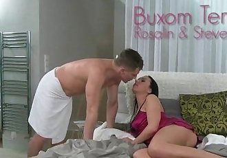 Buxom brunette mom pussy rubbed and fucked by dude in bedroom