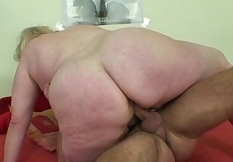Huge old grandma sucks and rides young dickHD