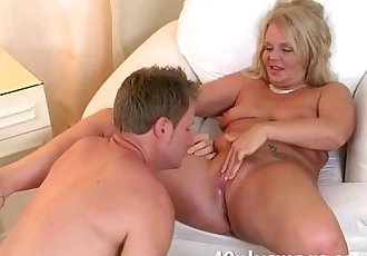 Plump blonde housewife with Charly