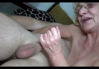 Grey old Granny likes young man - 5 min